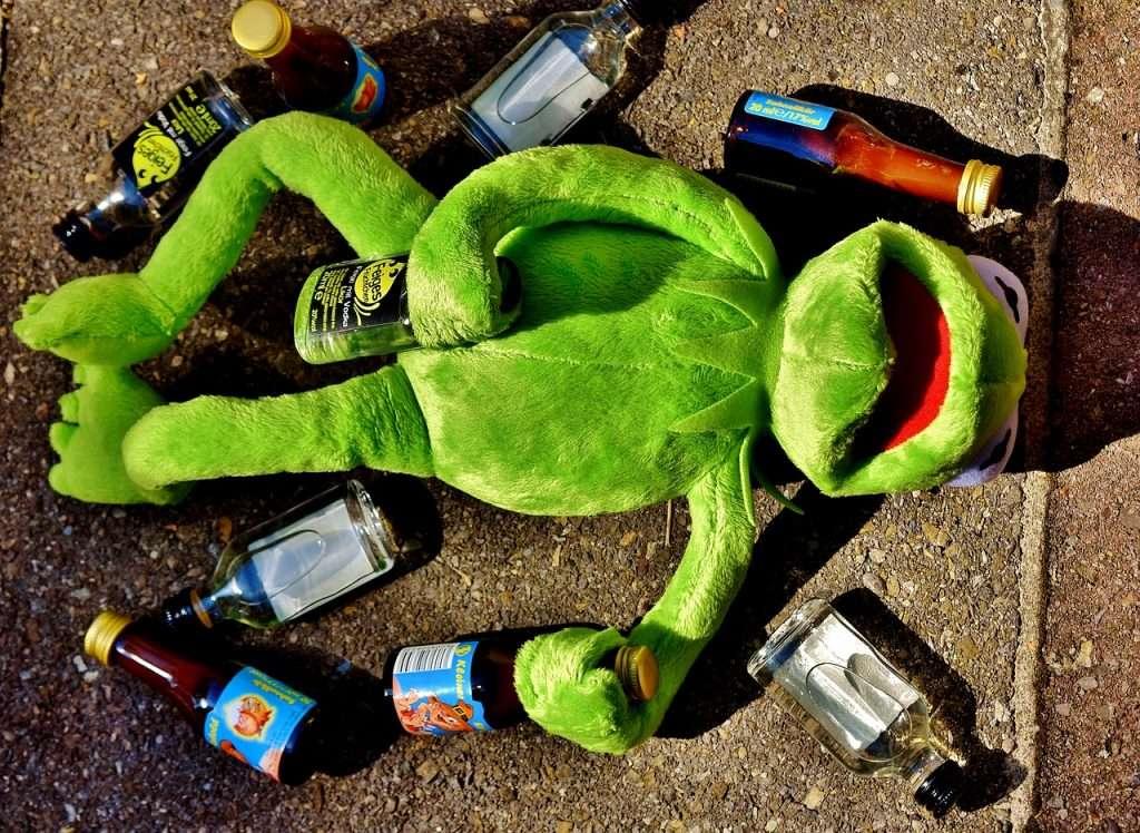 Kermit heeft de glasbak net niet gehaald