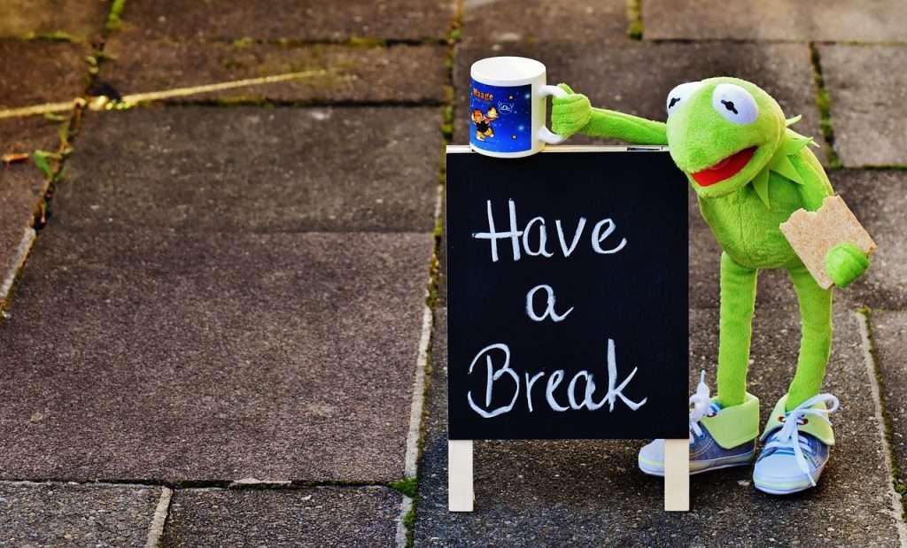 Kermit neemt even pauze