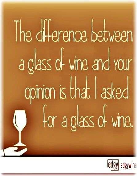 the difference between a glass of wine and your opinion